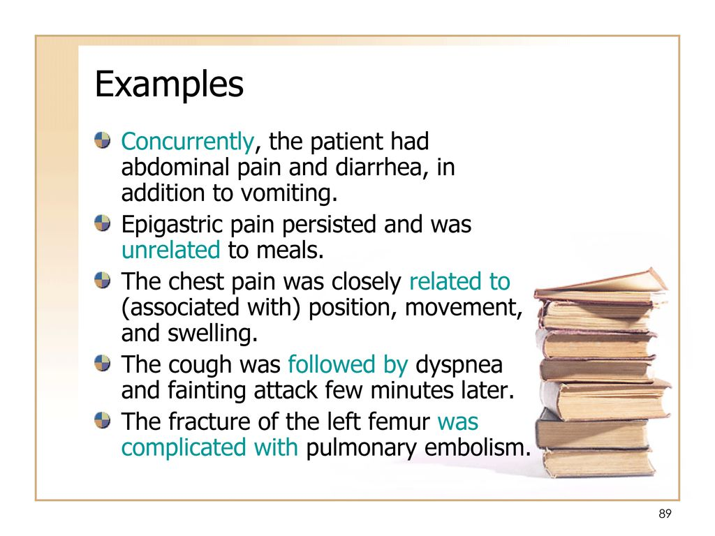 Examples Concurrently, the patient had abdominal pain and diarrhea, in addition to vomiting. Epigastric pain persisted and was unrelated to meals.