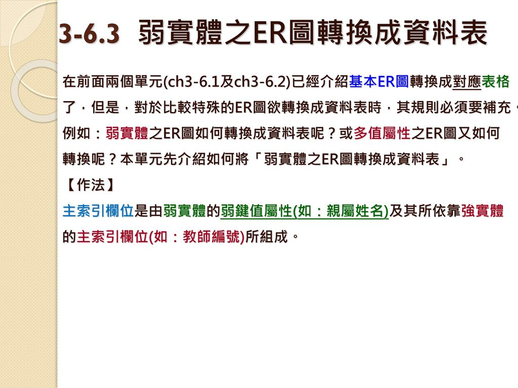 3-6.3 弱實體之ER圖轉換成資料表