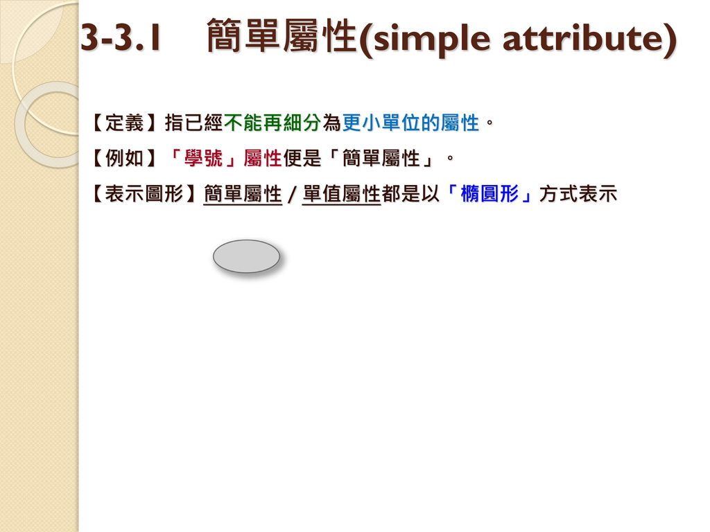 3-3.1 簡單屬性(simple attribute)