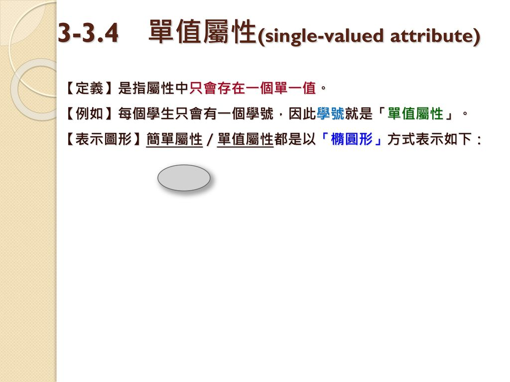 3-3.4 單值屬性(single-valued attribute)