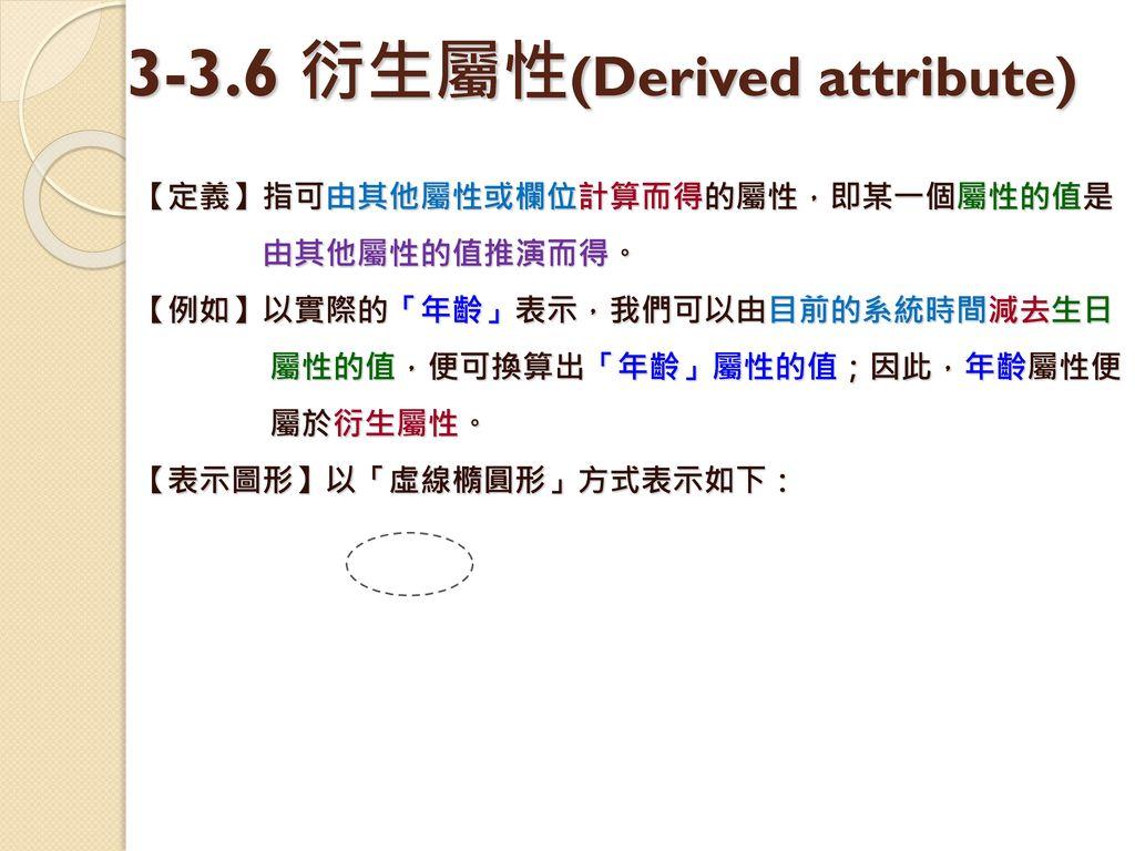 3-3.6 衍生屬性(Derived attribute)