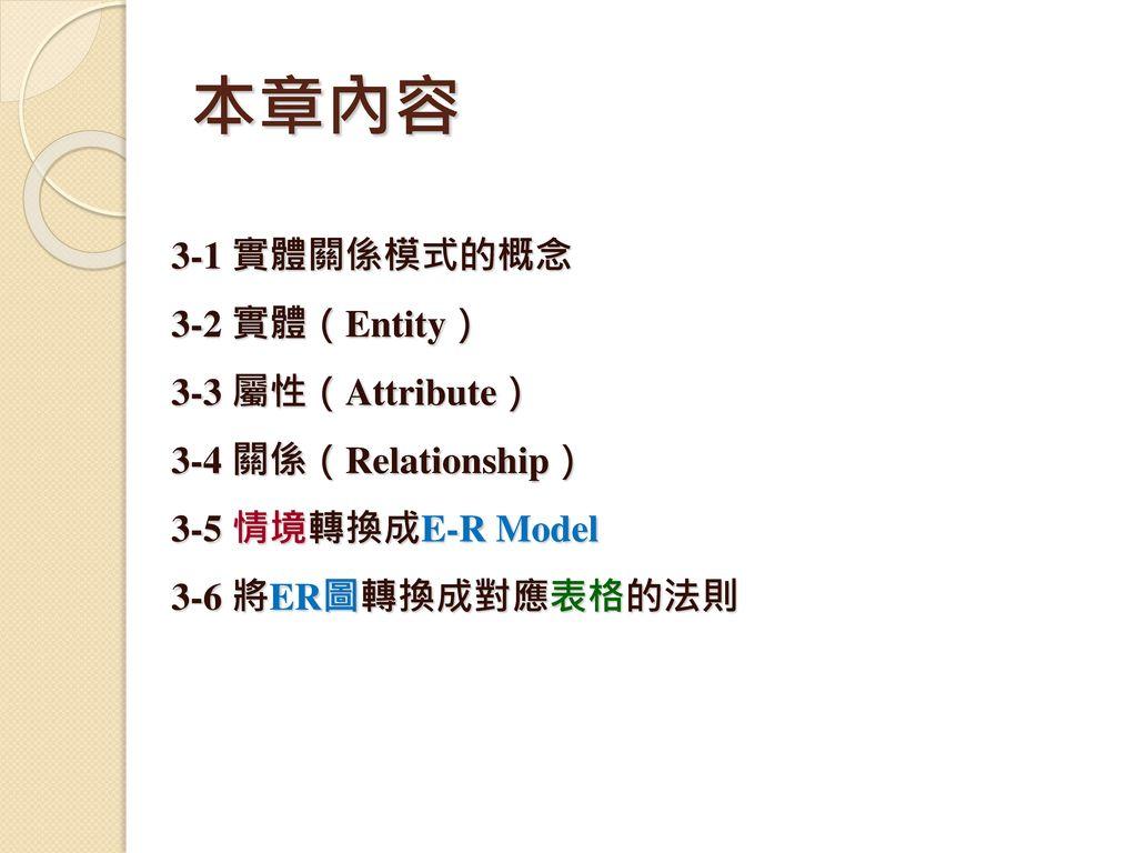 本章內容 3-1 實體關係模式的概念 3-2 實體(Entity) 3-3 屬性(Attribute)