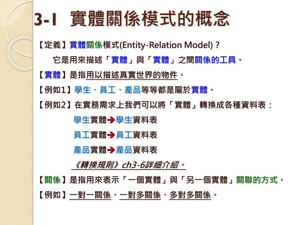 3-1 實體關係模式的概念 【定義】實體關係模式(Entity-Relation Model)?