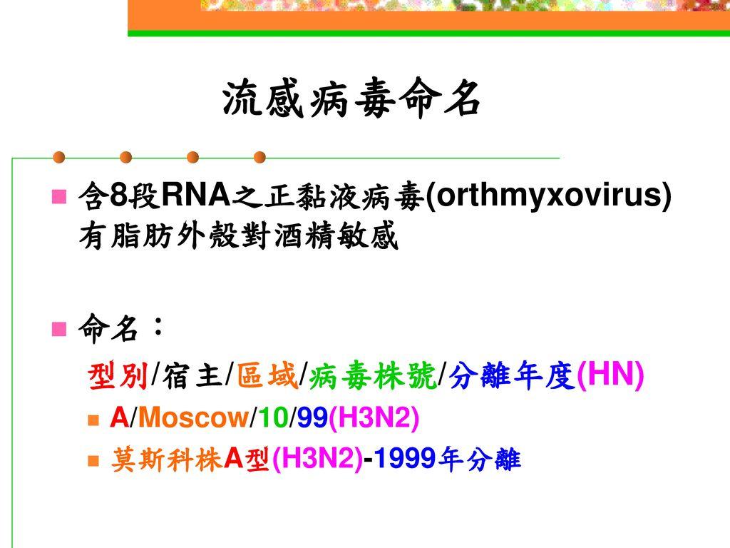 流感病毒命名 含8段RNA之正黏液病毒(orthmyxovirus)有脂肪外殼對酒精敏感 命名: