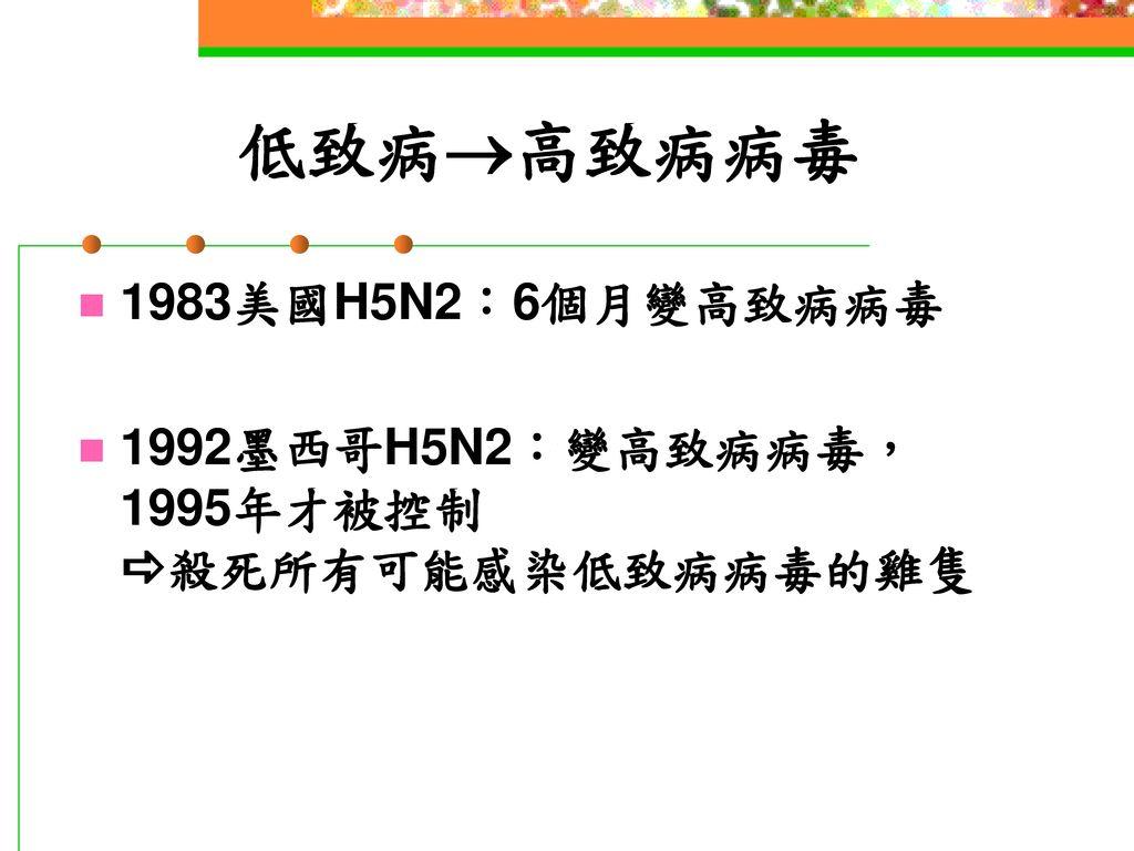 低致病高致病病毒 1983美國H5N2:6個月變高致病病毒