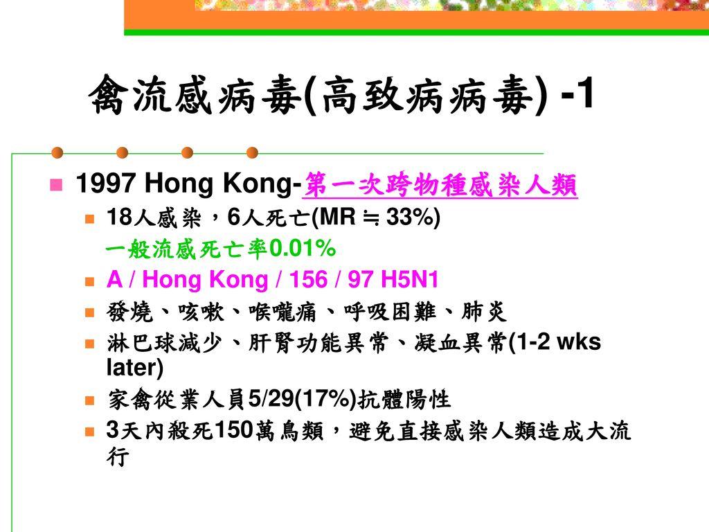 禽流感病毒(高致病病毒) -1 1997 Hong Kong-第一次跨物種感染人類 18人感染,6人死亡(MR ≒ 33%)