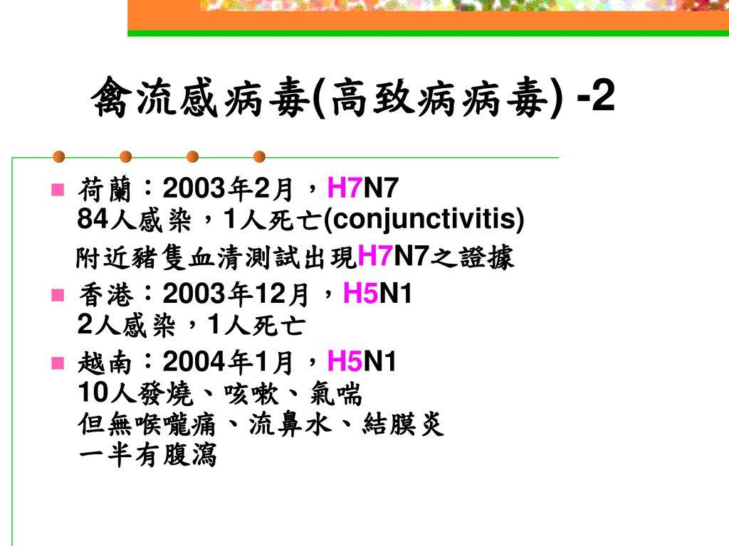 禽流感病毒(高致病病毒) -2 荷蘭:2003年2月,H7N7 84人感染,1人死亡(conjunctivitis)