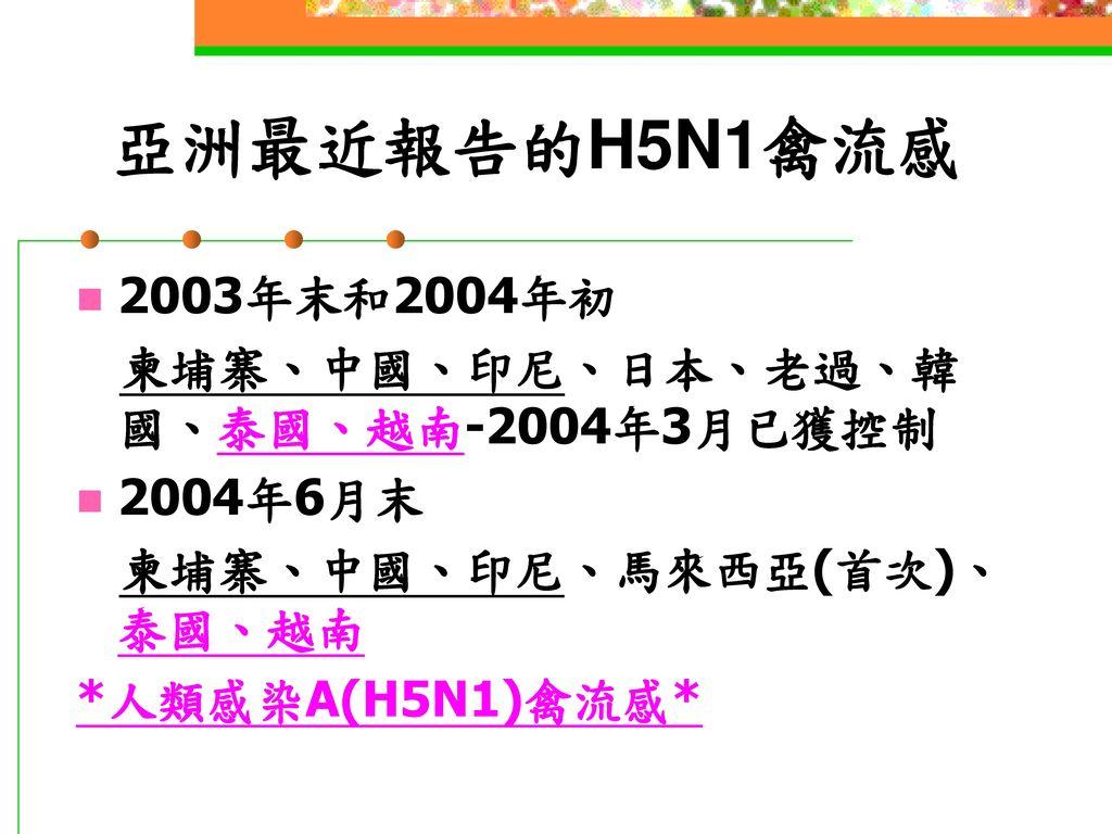 亞洲最近報告的H5N1禽流感 2003年末和2004年初 柬埔寨、中國、印尼、日本、老過、韓國、泰國、越南-2004年3月已獲控制