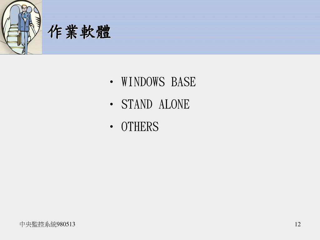 作業軟體 WINDOWS BASE STAND ALONE OTHERS 中央監控系統980513