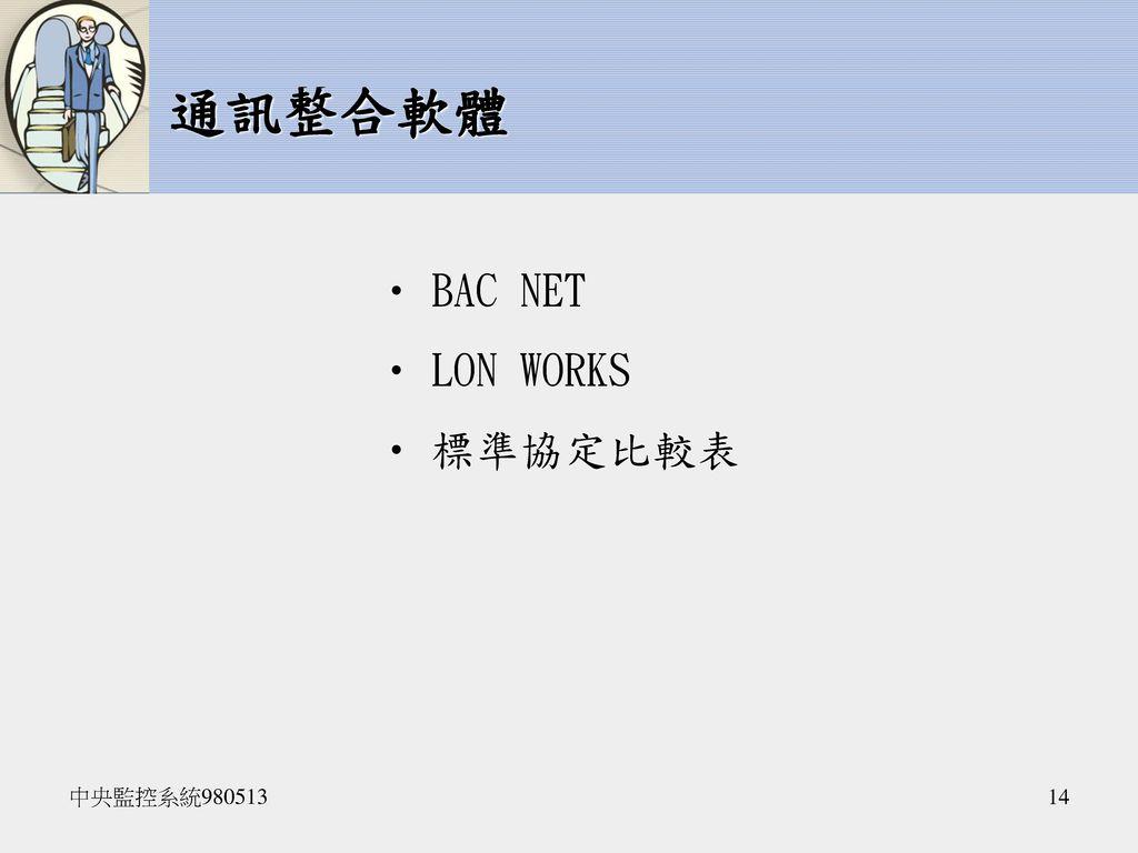 通訊整合軟體 BAC NET LON WORKS 標準協定比較表 中央監控系統980513