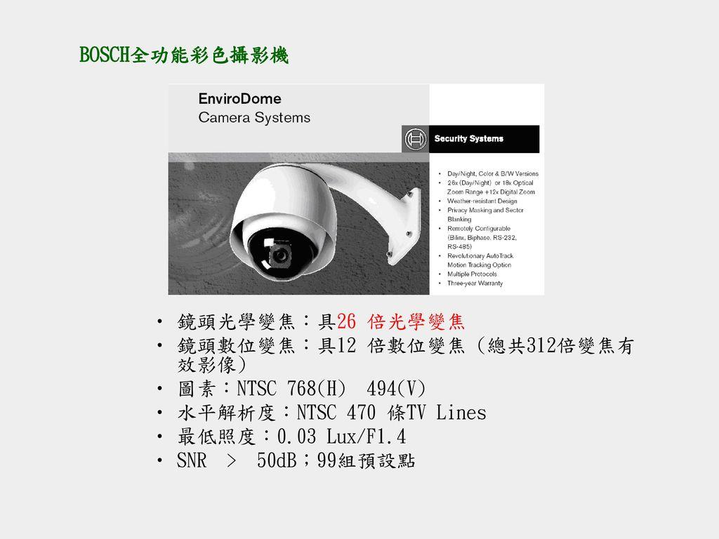 BOSCH全功能彩色攝影機 鏡頭光學變焦:具26 倍光學變焦. 鏡頭數位變焦:具12 倍數位變焦 (總共312倍變焦有效影像) 圖素:NTSC 768(H) 494(V) 水平解析度:NTSC 470 條TV Lines.