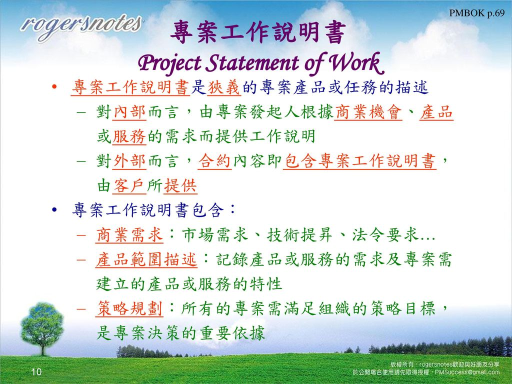 專案工作說明書 Project Statement of Work