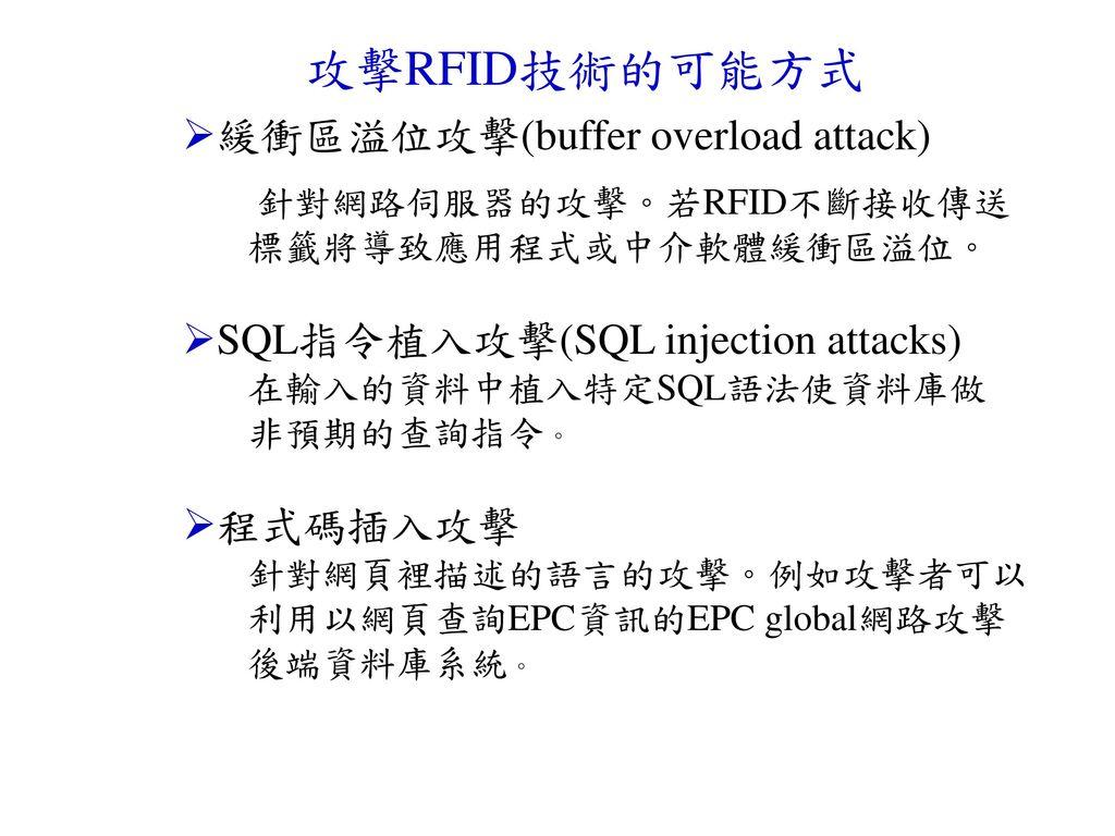 攻擊RFID技術的可能方式 緩衝區溢位攻擊(buffer overload attack)