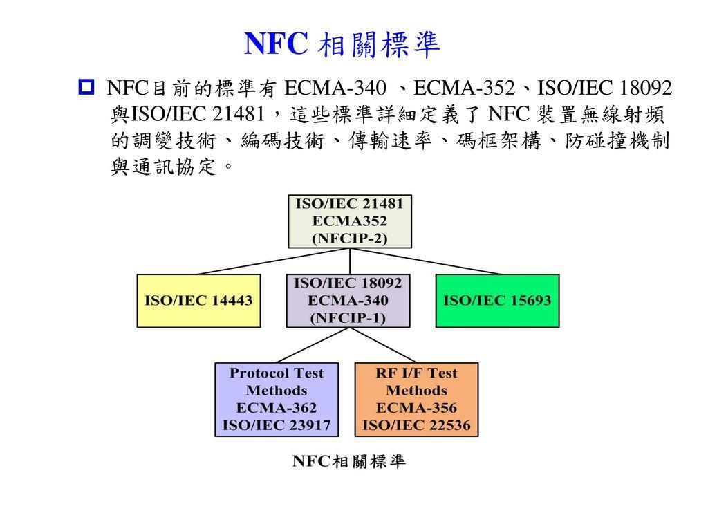 NFC 相關標準 NFC目前的標準有 ECMA-340 、ECMA-352、ISO/IEC 18092