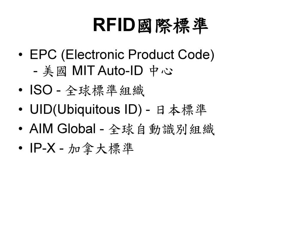 RFID國際標準 EPC (Electronic Product Code) - 美國 MIT Auto-ID 中心