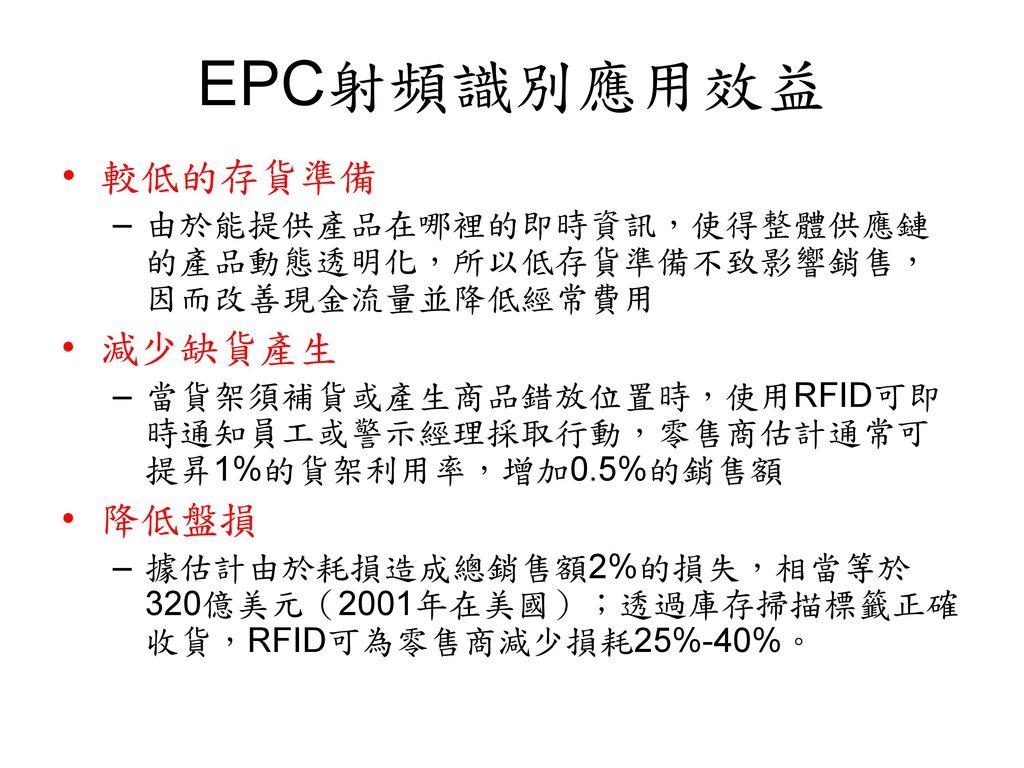 EPC射頻識別應用效益 較低的存貨準備 減少缺貨產生 降低盤損