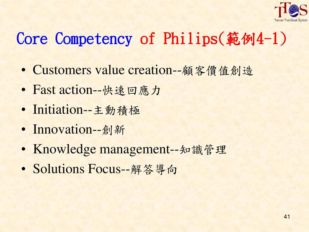 Core Competency of Philips(範例4-1)