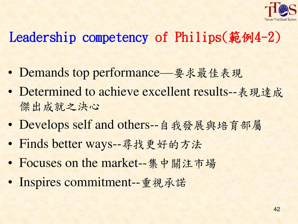 Leadership competency of Philips(範例4-2)