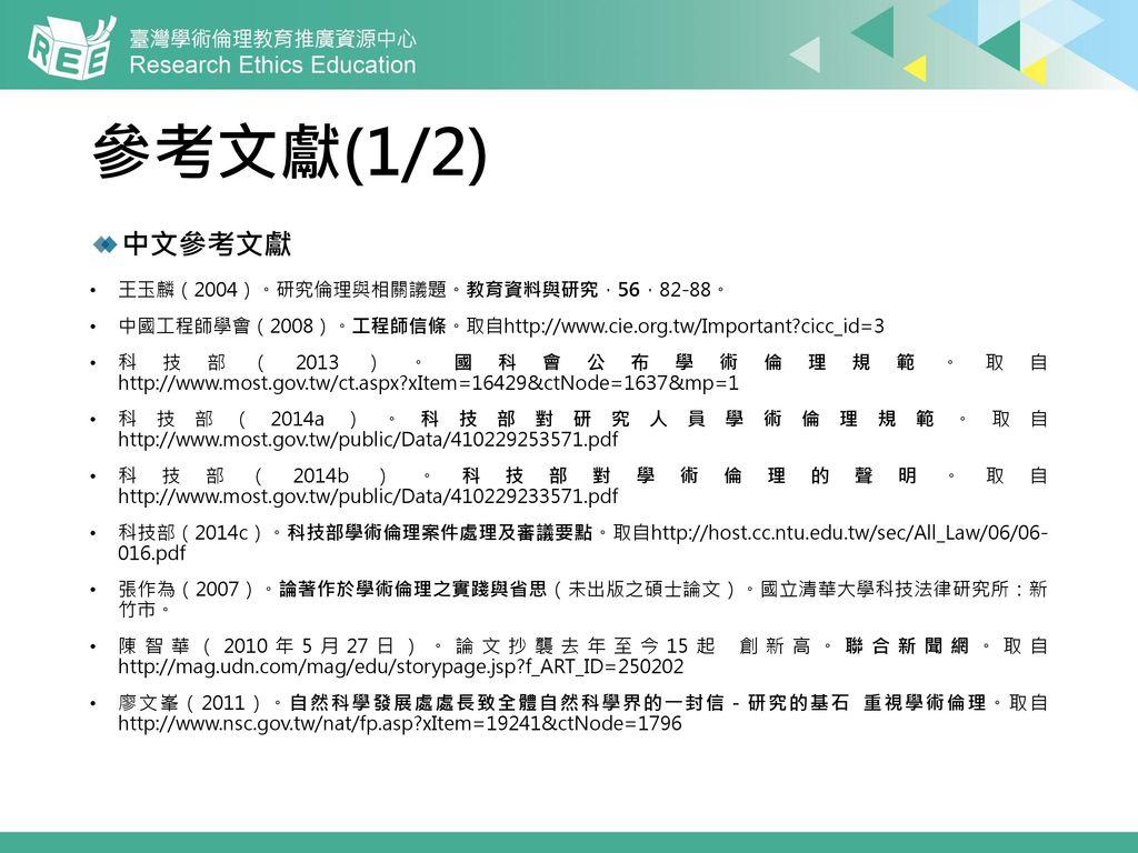 參考文獻(1/2) 中文參考文獻 王玉麟(2004)。研究倫理與相關議題。教育資料與研究,56,82-88。