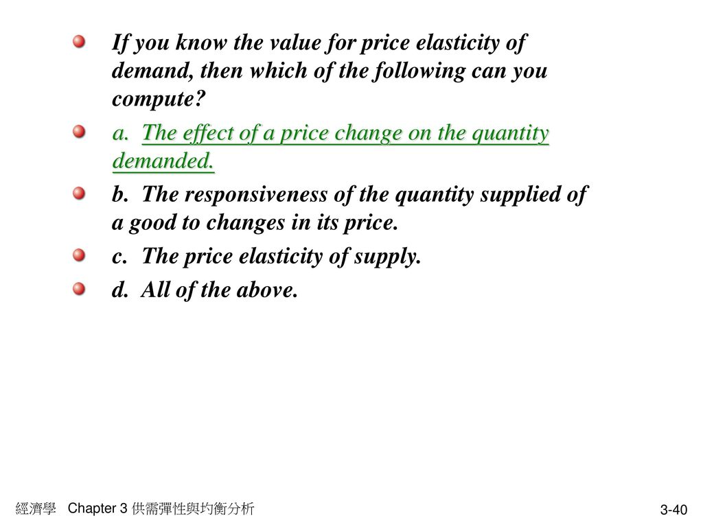 a. The effect of a price change on the quantity demanded.