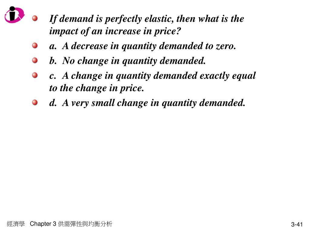 a. A decrease in quantity demanded to zero.
