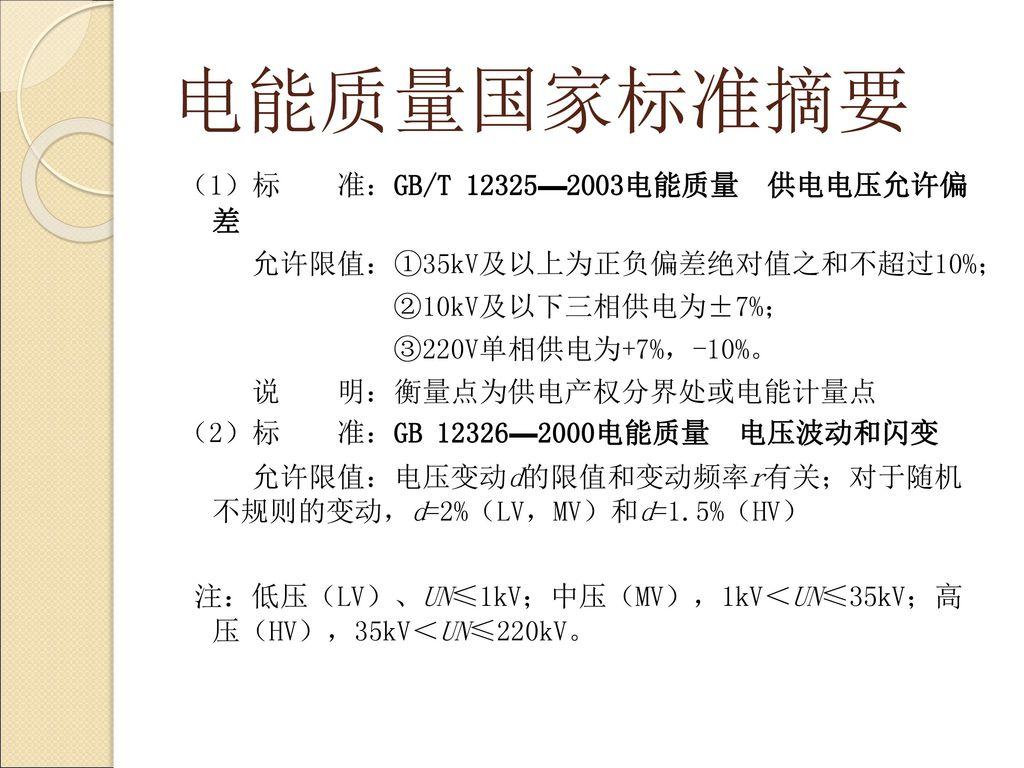 电能质量国家标准摘要 (1)标 准:GB/T 12325—2003电能质量 供电电压允许偏 差