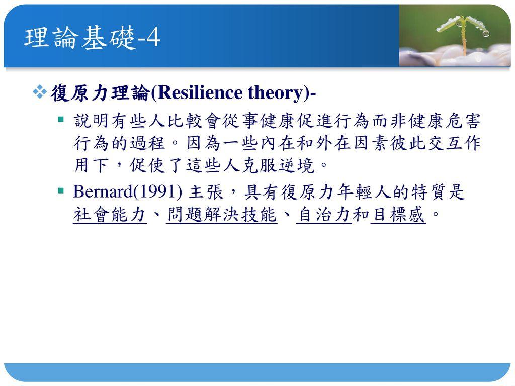 理論基礎-4 復原力理論(Resilience theory)-