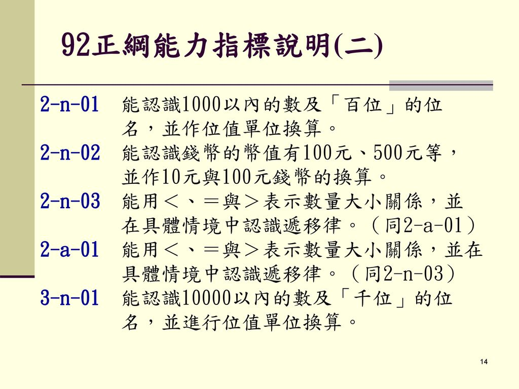 92正綱能力指標說明(二) 2-n-01 能認識1000以內的數及「百位」的位 名,並作位值單位換算。