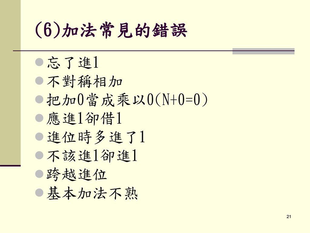(6)加法常見的錯誤 忘了進1 不對稱相加 把加0當成乘以0(N+0=0) 應進1卻借1 進位時多進了1 不該進1卻進1 跨越進位
