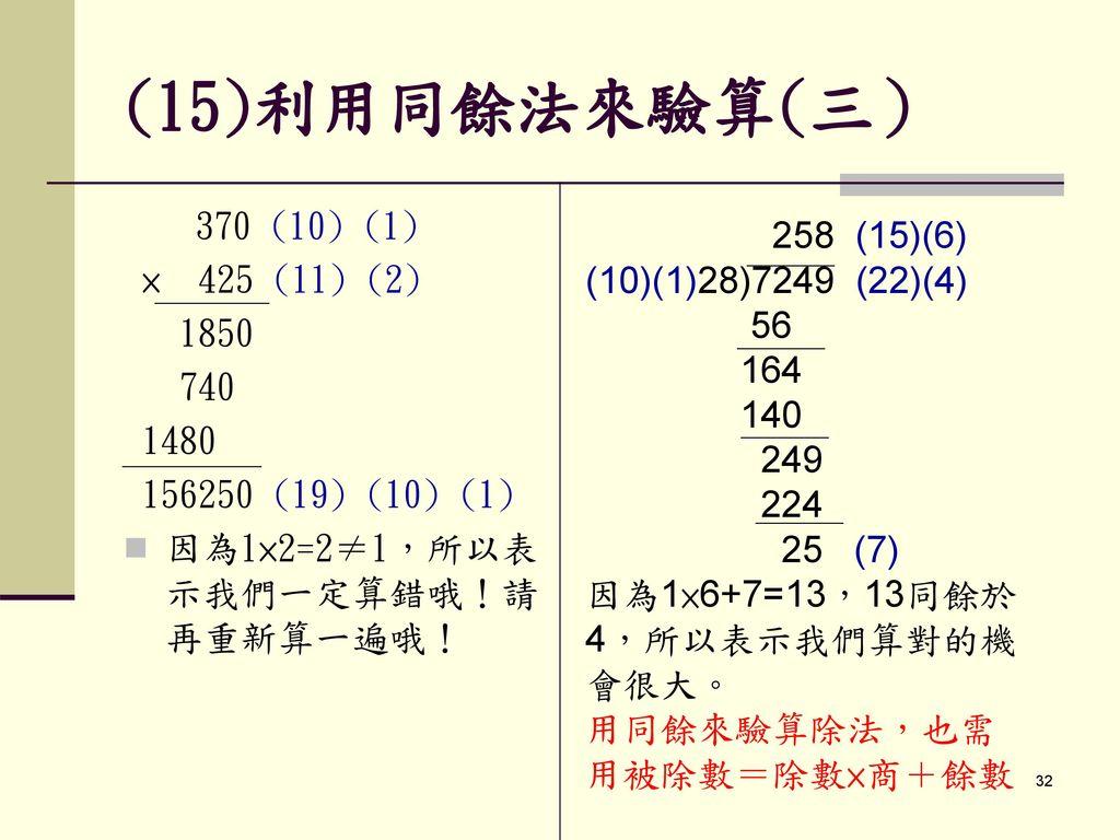 (15)利用同餘法來驗算(三) 370 (10) (1) 258 (15)(6) × 425 (11) (2)