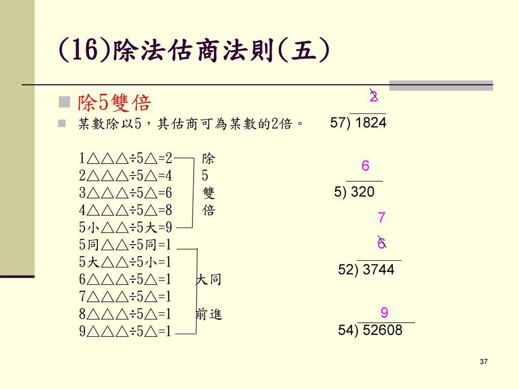 (16)除法估商法則(五) 除5雙倍 2 57) 1824 某數除以5,其估商可為某數的2倍。 6 1△△△÷5△=2 除