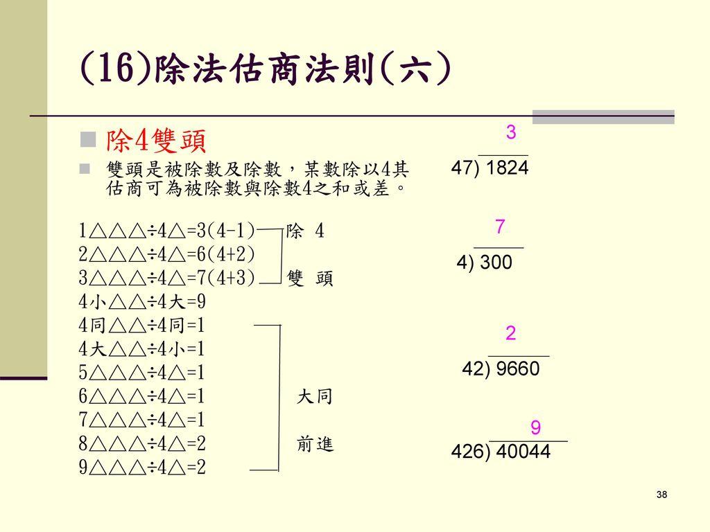 (16)除法估商法則(六) 3. 47) 1824. 7. 4) 300. 2. 42) 9660. 9. 426) 40044. 除4雙頭. 雙頭是被除數及除數,某數除以4其估商可為被除數與除數4之和或差。