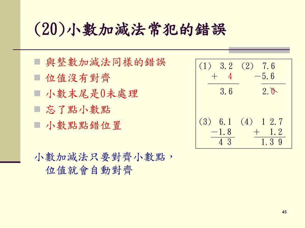 (20)小數加減法常犯的錯誤 與整數加減法同樣的錯誤 位值沒有對齊 小數末尾是0未處理 忘了點小數點 小數點點錯位置