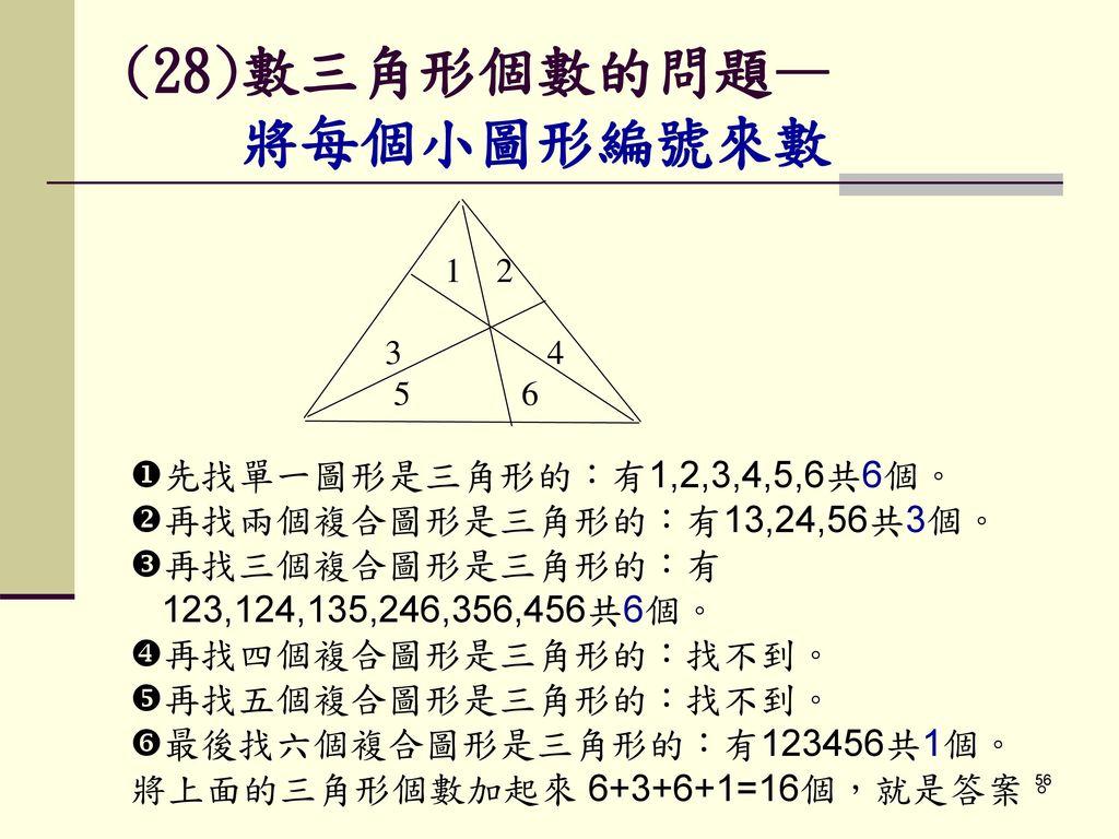 (28)數三角形個數的問題— 將每個小圖形編號來數