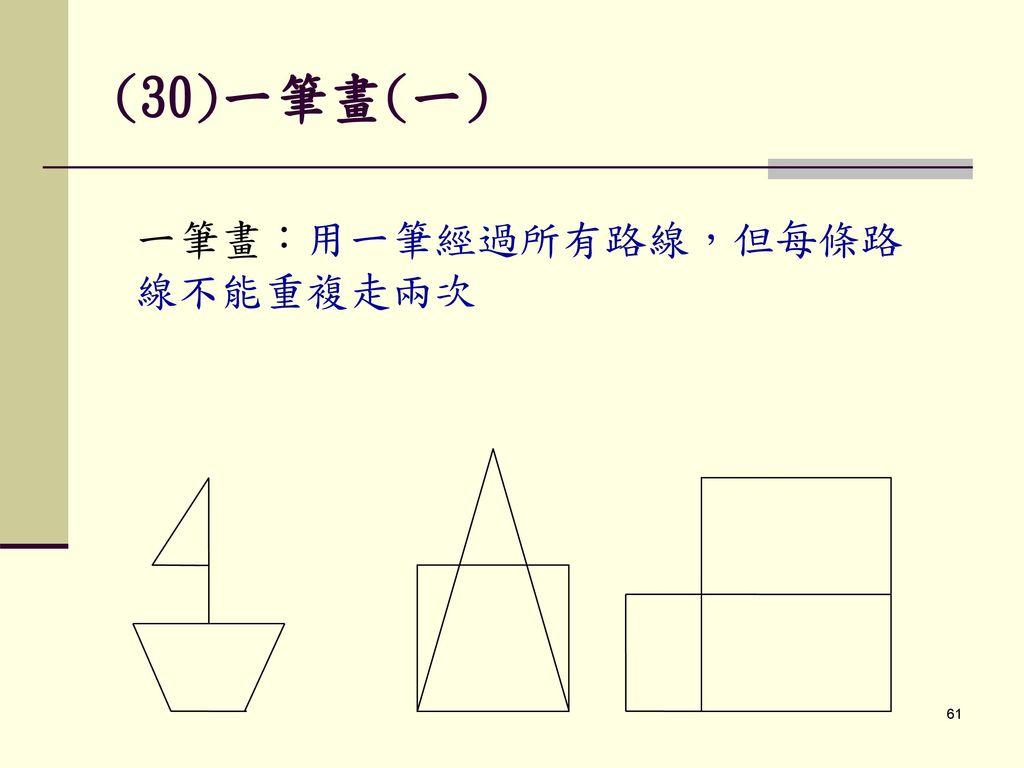 (30)一筆畫(一) 一筆畫:用一筆經過所有路線,但每條路線不能重複走兩次