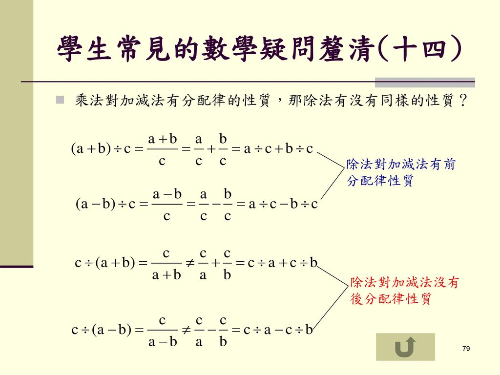 學生常見的數學疑問釐清(十四) 乘法對加減法有分配律的性質,那除法有沒有同樣的性質? 除法對加減法有前分配律性質