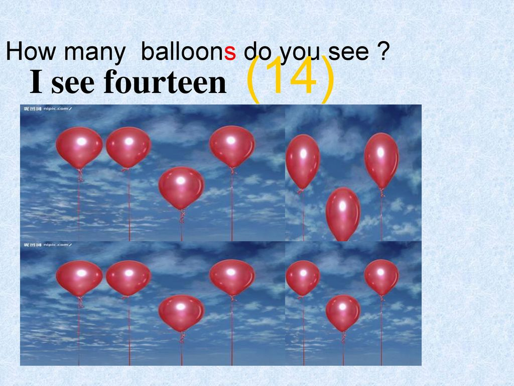 I see fourteen (14) How many balloons do you see