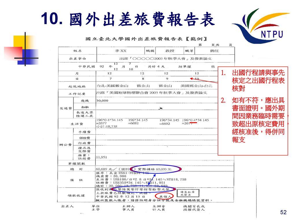 10. 國外出差旅費報告表 出國行程請與事先核定之出國行程表核對