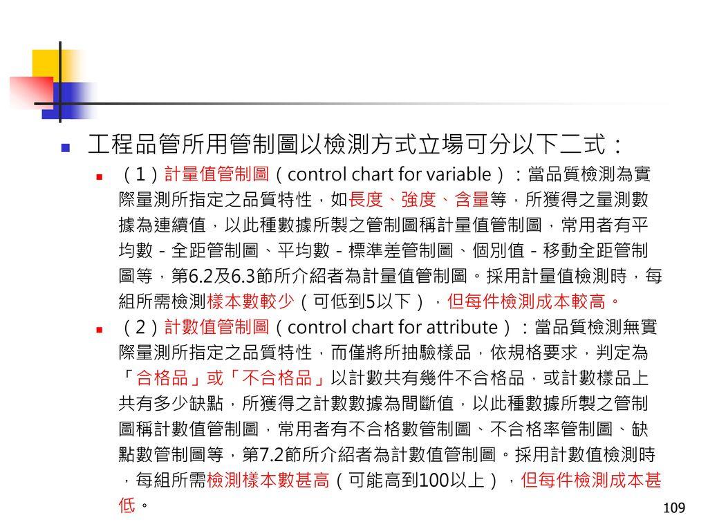 工程品管所用管制圖以檢測方式立場可分以下二式: