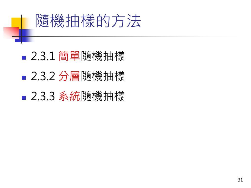 隨機抽樣的方法 2.3.1 簡單隨機抽樣 2.3.2 分層隨機抽樣 2.3.3 系統隨機抽樣