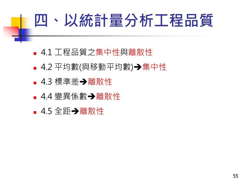 四、以統計量分析工程品質 4.1 工程品質之集中性與離散性 4.2 平均數(與移動平均數)集中性 4.3 標準差離散性