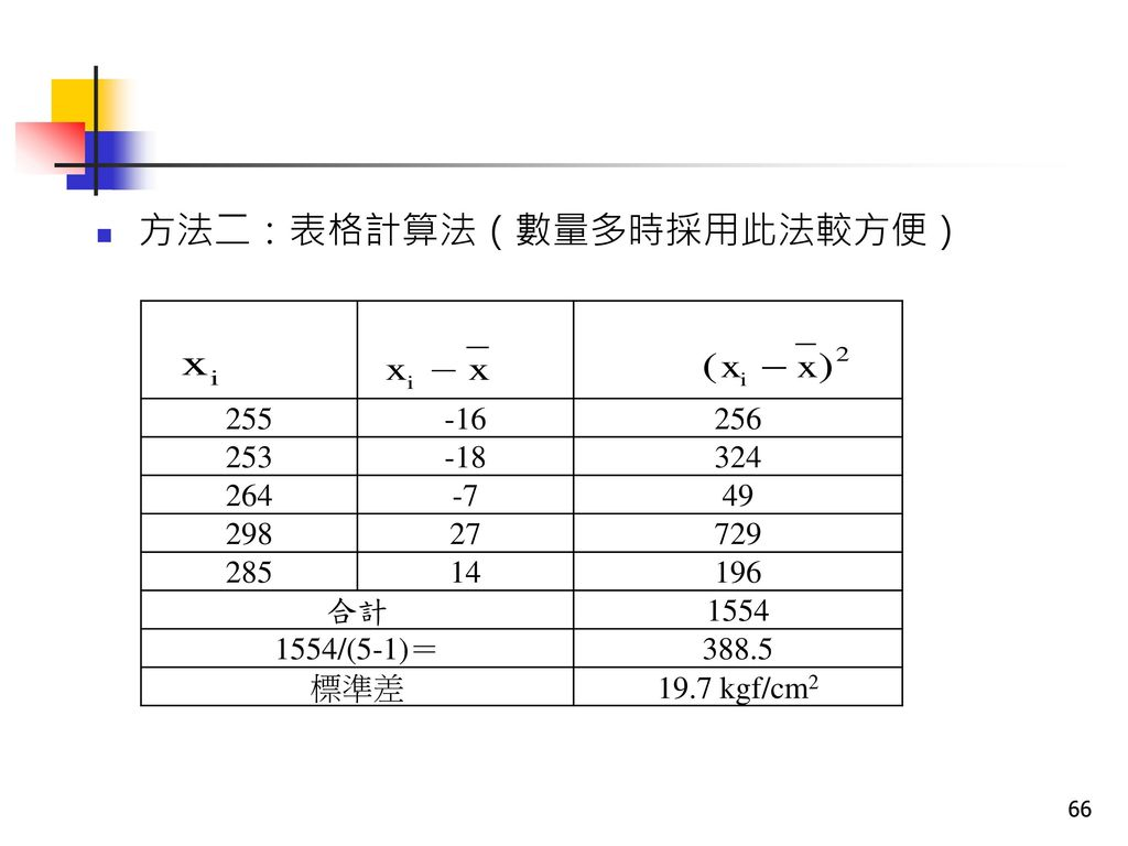 方法二:表格計算法(數量多時採用此法較方便)