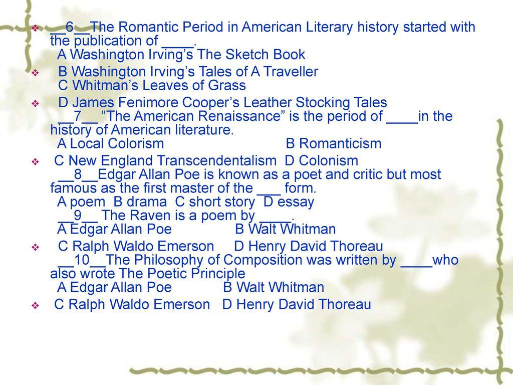 literary essay on the romantic period