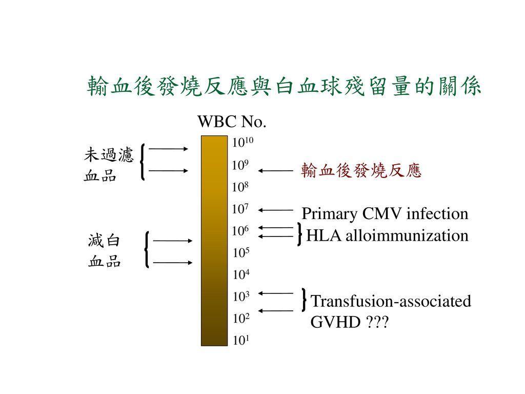 輸血後發燒反應與白血球殘留量的關係 WBC No. 未過濾 血品 輸血後發燒反應 Primary CMV infection
