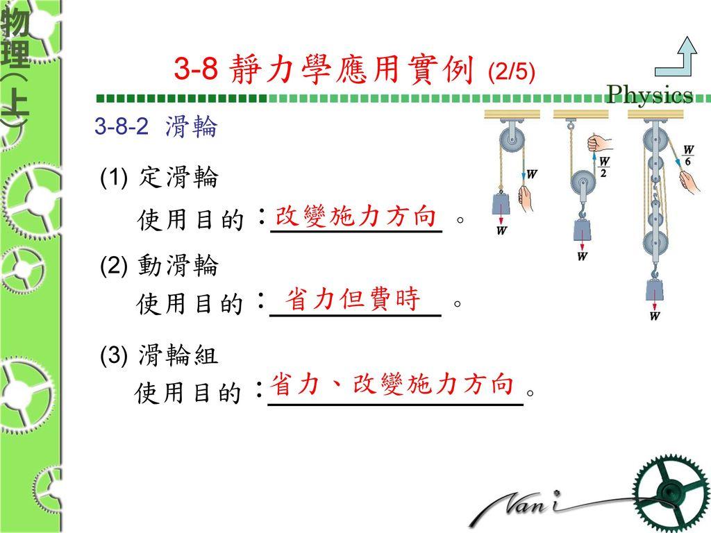 3-8 靜力學應用實例 (2/5) 使用目的: 。 使用目的: 。 使用目的: 改變施力方向 。 省力但費時 省力、改變施力方向