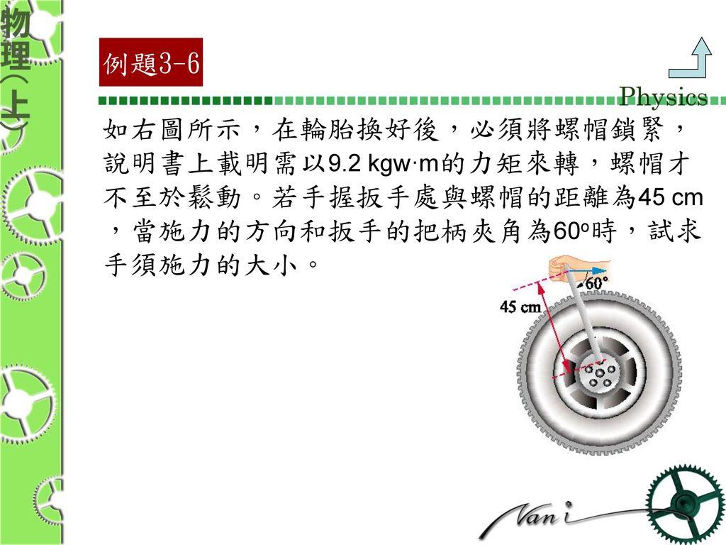 例題3-6 如右圖所示,在輪胎換好後,必須將螺帽鎖緊, 說明書上載明需以9.2 kgw·m的力矩來轉,螺帽才. 不至於鬆動。若手握扳手處與螺帽的距離為45 cm. ,當施力的方向和扳手的把柄夾角為60o時,試求.