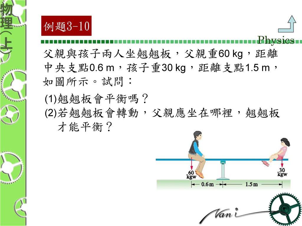 父親與孩子兩人坐翹翹板,父親重60 kg,距離 中央支點0.6 m,孩子重30 kg,距離支點1.5 m, 如圖所示。試問: