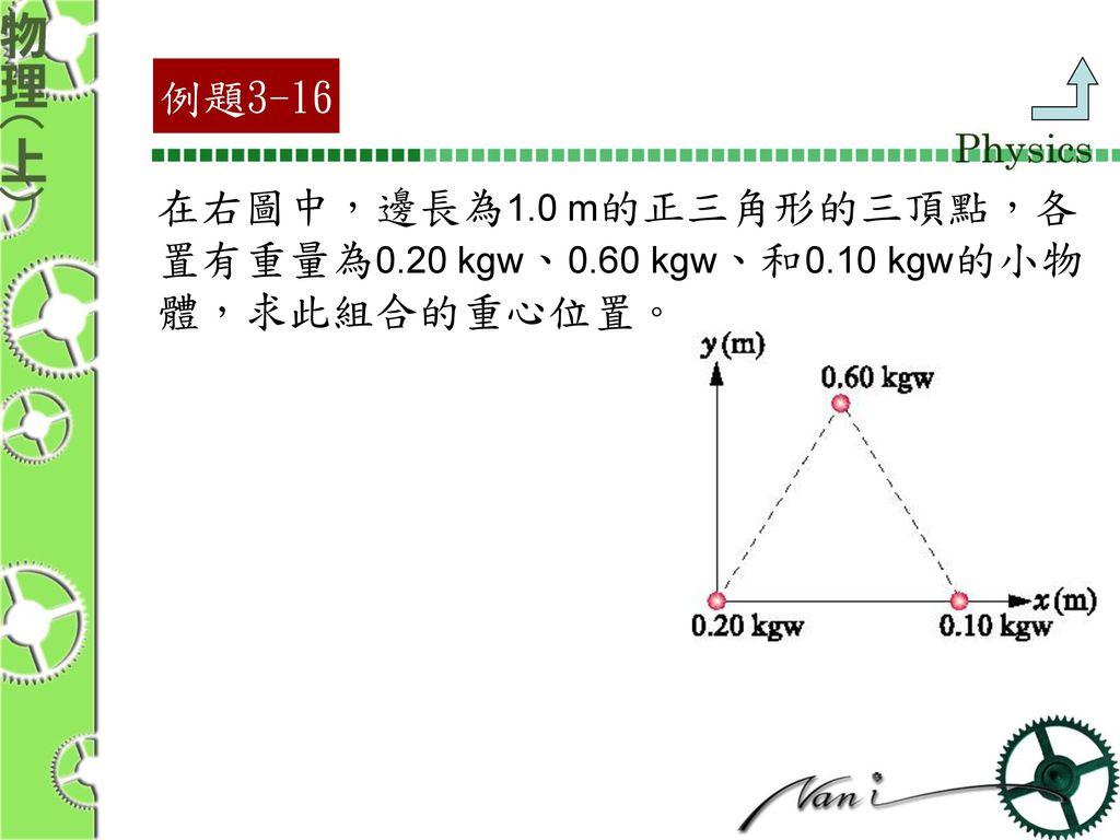 例題3-16 在右圖中,邊長為1.0 m的正三角形的三頂點,各 置有重量為0.20 kgw、0.60 kgw、和0.10 kgw的小物 體,求此組合的重心位置。