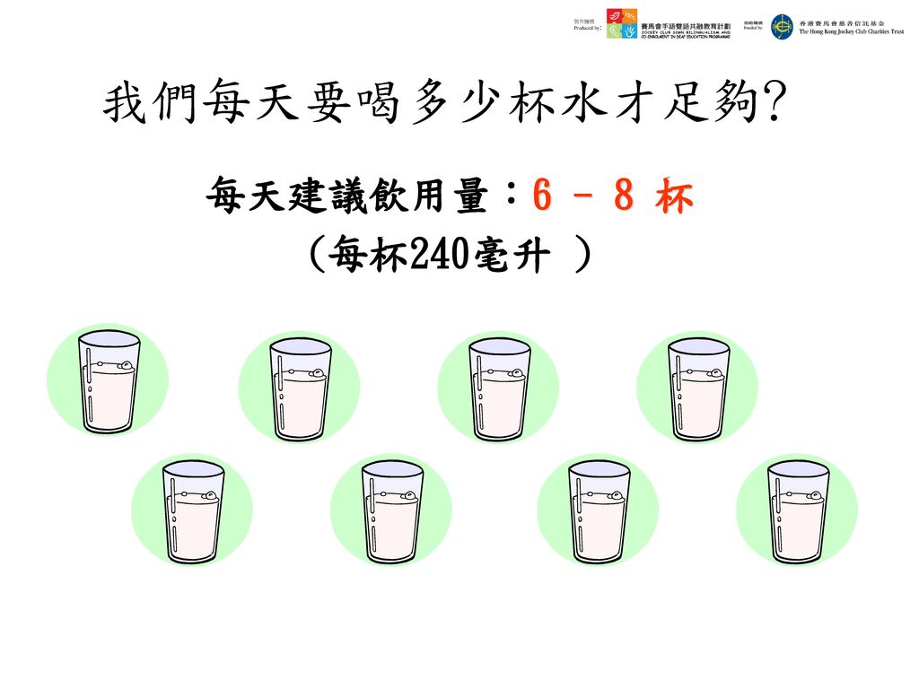 我們每天要喝多少杯水才足夠﹖ 每天建議飲用量:6 - 8 杯 (每杯240毫升 )