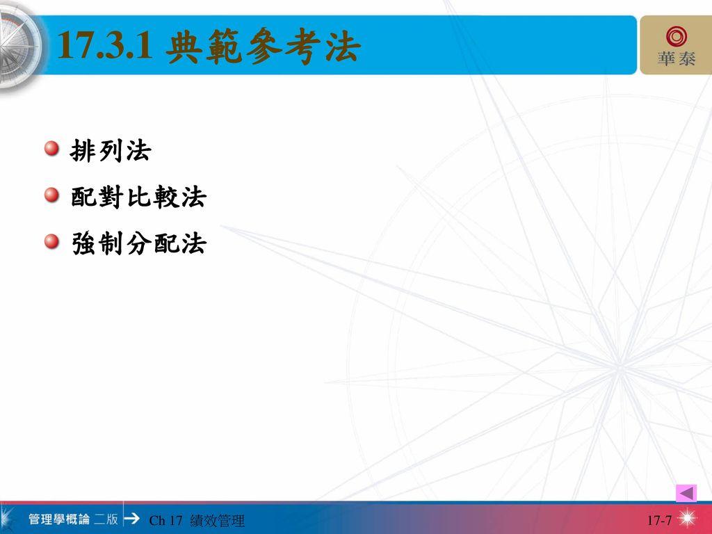 17.3.1 典範參考法 排列法 配對比較法 強制分配法 Ch 17 績效管理